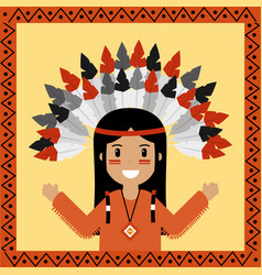 native american indian character portrait vector image