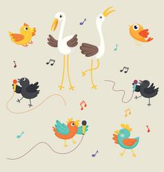 of birds singing vector image