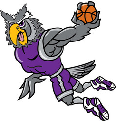 owl sports logo mascot basketball vector image