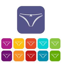 Panties icons set flat vector
