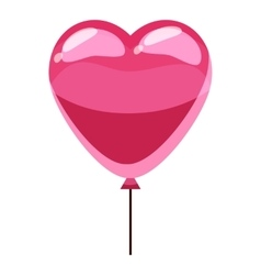 Pink heart balloon icon isometric 3d style vector image