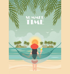 pretty woman relax on the beach cradle vector image