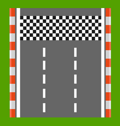 Race finish top view road with finish line vector