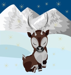 Reindeer in the snow vector