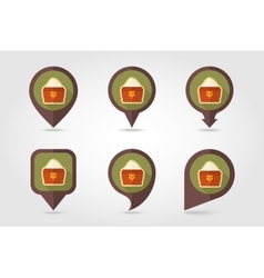 Sack of flour flat mapping pin icon vector