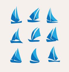 Sailing icon set vector