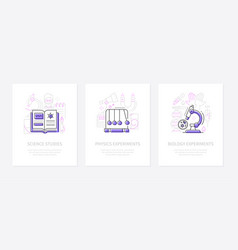 science and education - line design style banners vector image