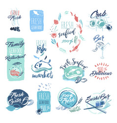 Seafood hand drawn watercolor badges and stickers vector