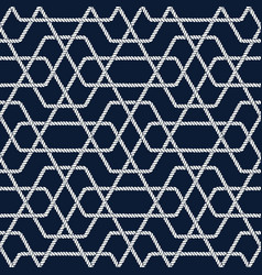 seamless nautical rope pattern with hexagon shapes vector image