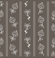seamless pattern with hand-drawn fantasy flowers vector image
