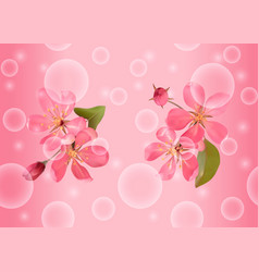 seamless pattern with pink blossoming cherry vector image