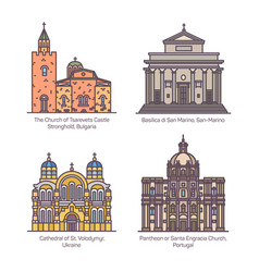 Set churches and cathedral basilica europe vector