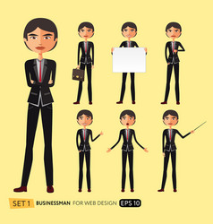 set of businessman asian poses vector image