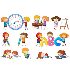 Set of doodle kids activity vector