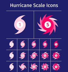 Set of hurricane scale icons vector