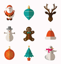 Set of modern style Christmas flat icons vector image