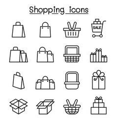 shopping icon set in thin line style vector image