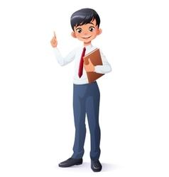 smart young Asian school boy index finger vector image