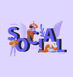 social media people chatting in network vector image