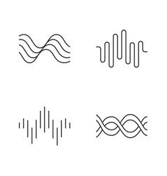 sound waves linear icons set audio waves vector image