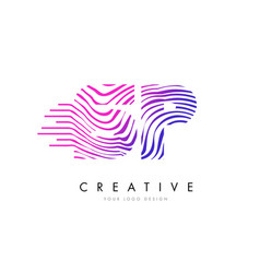 Sp s p zebra lines letter logo design with vector