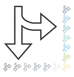Split direction right down icon vector