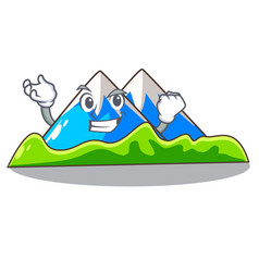 Successful miniature mountain in the character vector