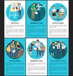 Successful team and working task vertical posters vector