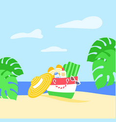 summer vacation beach bag tropical leaves banner vector image