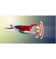 super businessman flying and breaking target vector image
