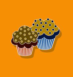 Sweet dessert in paper sticker cupcakes vector