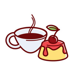 Tender panna cotta with cherry and hot coffee vector