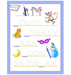Tracing letter m for study english alphabet vector
