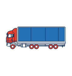 Truck side view cargo delivery car for vector