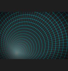Tunnel background 3d wireframe grid vector