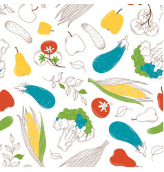 Vegetables and fruits eco products seamless vector