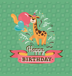 vintage birthday greeting card with giraffe vector image