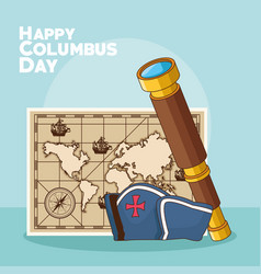 Vintage map and happy columbus day design vector