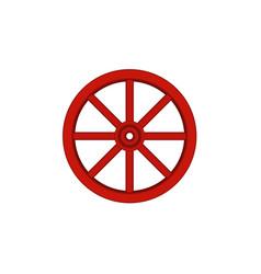 Vintage wooden wheel in red design vector