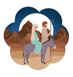 Virgin mary in mule and saint joseph vector