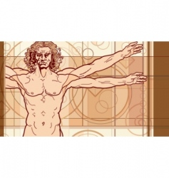 Vitruvian man fragment vector