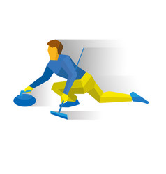 Winter sports - curling player slide stone vector