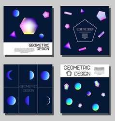 geometric neon holographic cards cover design vector image vector image