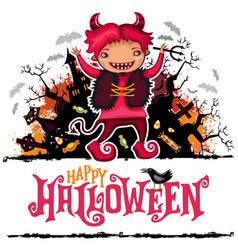 halloween card boy in devil costume vector image vector image