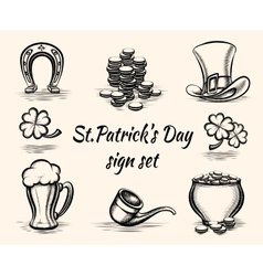 Hand drawn St Patricks Day signs vector image vector image