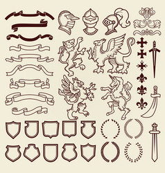 heraldic design vintage retro shield clipart royal vector image