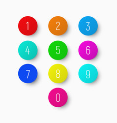 Set of numbers from 1 to 9 on a round vector