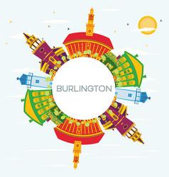 burlington skyline with color buildings blue sky vector image vector image