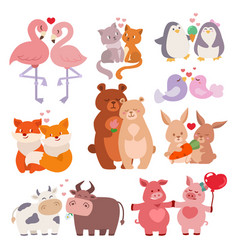 cute animals couples in love collection happy vector image