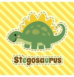 Cute cartoon smiling stegosaurus on striped yellow vector image